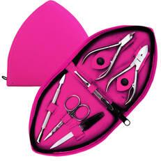 Manikyrset, trekantigt rosa fodral, 6 verktyg