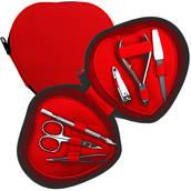 Manikyrset, hjärtformat rött fodral, 6 verktyg