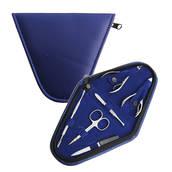 Manikyrset, marinblå trekantigt fodral, 6 verktyg