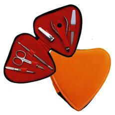 Manikyrset, hjärtformat orange fodral, 6 verktyg
