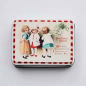 Tvålask, tre små flickor - nostalgiskt Julmotiv